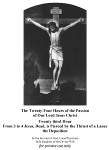 Twenty third Hour From 3 to 4 Jesus, Dead, is Pierced by the Thrust of a Lance the Deposition